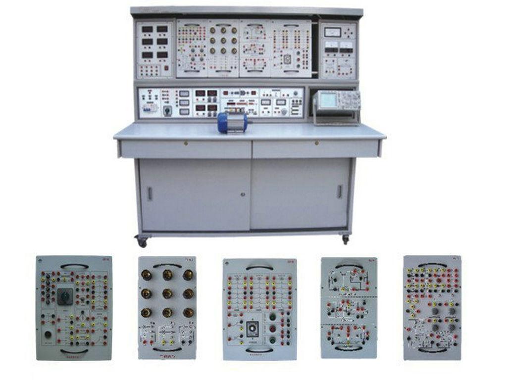 右测为实验变压器,日光灯实验电路,功率因数表等,中部为实验时放置挂